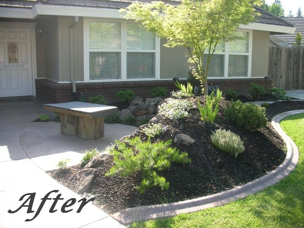 landscaping front yard landscaping ideas with bench. Black Bedroom Furniture Sets. Home Design Ideas